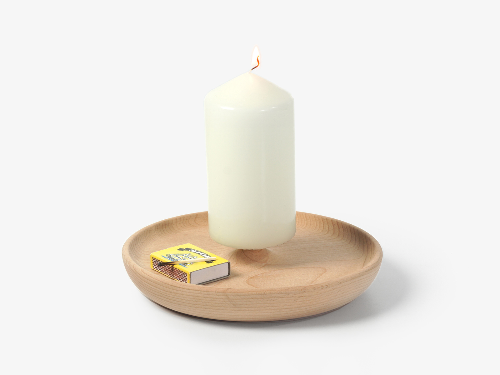 Candle plate wooden candle holder